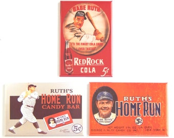 Babe Ruth Baseball Fridge Magnet Set