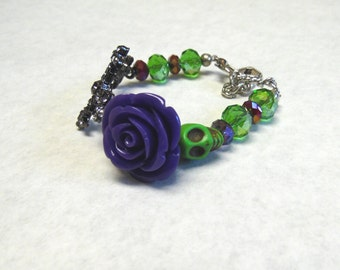 Sugar Skull Bracelet Day Dead Jewelry Purple Cross Green Black Skull Strand