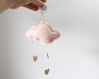 Luxe Mini Heart Cloud in leather and wool felt - keepsake ornament or nursery decor - choose your color- Free US Shipping