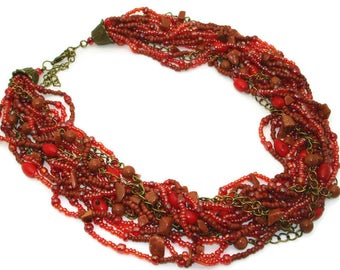 Bohemian jewelry Boho jewelry Coral necklace Multistrand necklace Natural coral jewelry handmade Vintage necklace Gifts idea Gifts for her