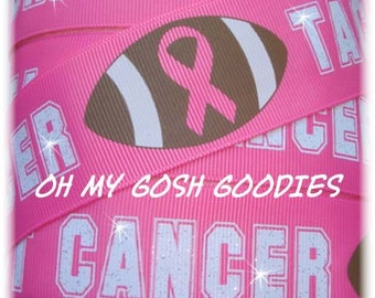 "TACKLE AWARENESS BREAST Cancer Football grosgrain ribbon - 7/8"" & 1.5"" - 5 Yards - Oh My Gosh Goodies Ribbon"
