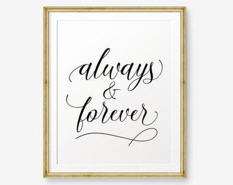 SALE Always & Forever, Wedding Art, Love Art, Wedding gift, wedding quote, black gold wedding art, Style 2