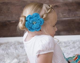 Bright Blue Hair Clip Crochet Flower Hair Clip Crochet Flower Barrette Blue Barrette French Barrette Spring Hair Clip Summer Hair Clip