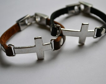 Leather bracelet with metal cross connector