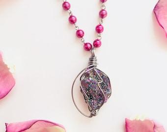 Rainbow Titanium Aura Quartz Crystal Geode Necklace