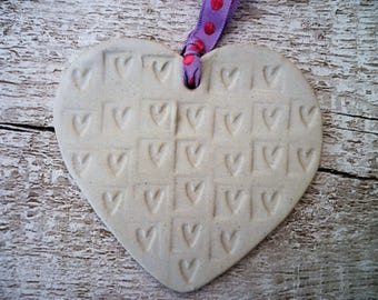 FREE SHIPPING- Ceramic Loveheart Hanger, gift idea, pottery.