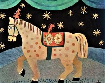 Original Collage-Zirkus-Pferd, Naive Kunst, Wandkunst, Recycling Kunst, Liberty Pferd, Zirkuszelt, Sterne, Theater, Kunst, Amanda weiss