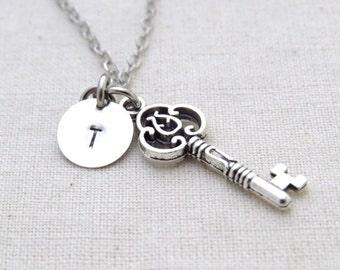 Skeleton Key Necklace, Initial Necklace, Handstamped Necklace, Best friend Gift, Handmade