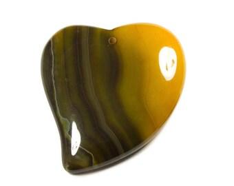 Carmel Brown Onyx Heart, Large Stone Focal Bead, 52 mm X 42 mm X 6 mm, Golden Tiger