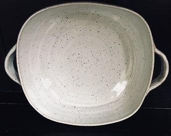 Speckled white stoneware baking/casserole squared dish/ wheel thrown pottery/ handmade/ CCStoneware/TN pottery/ kitchen decor