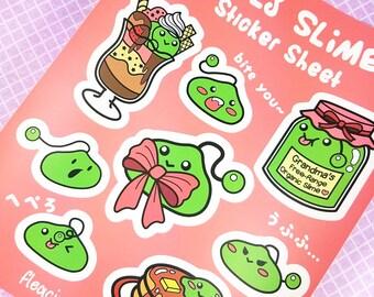 Slimes sticker sheet stickers planner vinyl kiss cut matte pancakes parfait jam kawaii bow sweets game scrapbooking cute