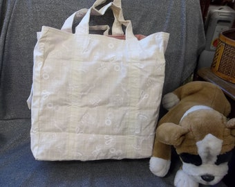Cotton Shopping Tote Bag, White Sewing Tools Cream Print