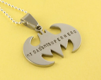 Father's Day Gift for Dad - My Dad's My Superhero Necklace - Bat Necklace - Superhero Necklace - Personalized Necklace - Gift for Dad