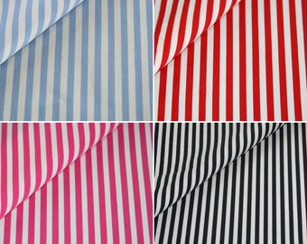 Cotton fabric by the metre stripes in light blue, red, pink, Navy blue fabric upholstery fabric Maritim pattern