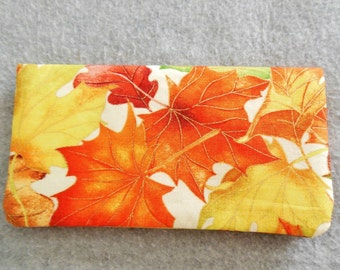 Fabric Checkbook Cover - Fall Leaves