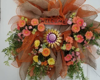 Orange Spring Wreath