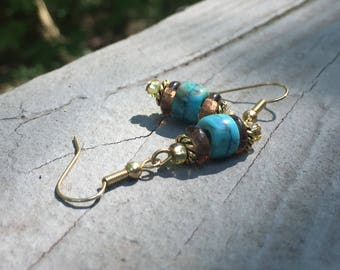 Blue turquoise earrings, gypsy earrings, trendy earrings, bohemian earrings, elegant earrings, hippy earrings