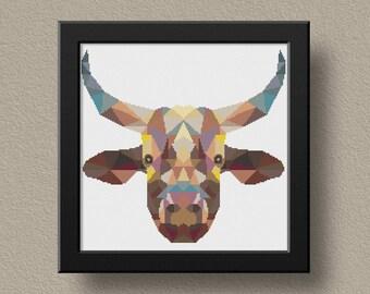 Modern Cross Stitch Pattern, Hoop Art Pattern, Beginner Embroidery, Diy Hoop Art,Geometric Animal Xstitch, Cow Pattern, Instant Download
