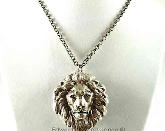 Antique Silver Lion Head Necklace Steampunk Jewelry Choose your Chain Length