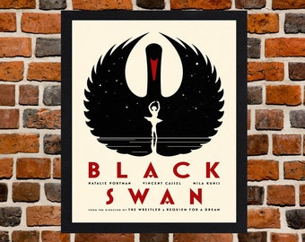 Framed Black Swan Natalie Portman Movie / Film Poster A3 Size Mounted In Black Or White Frame