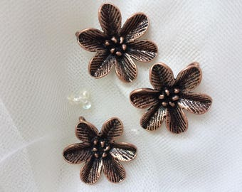 Set of Three Flower Embellishments. REDUCED