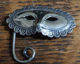 Vintage Sterling Mask Brooch