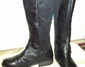 Black Leather Womens Riding Boots Size 11 B