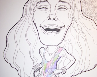 Janis Joplin Rock Portrait Rock and Roll Caricature Music Art by Leslie Mehl