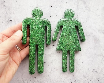 Decorative Resin Toilet Signs. Green Glitter Filled Male and Female Toilet Door Signs, Customisable, Bathroom Decor, Home Decor