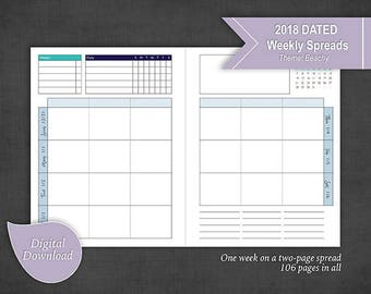 DATED Full Spread 2018 Weekly Planner Sunday Start 2 Pages per Week - Completely dated for 2018