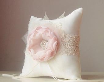 Ring Bearer Pillow, Vintage Wedding, Blush Ring Bearer Pillow, Wedding Pillow, Lace Ring Pillow, Rustic Wedding,