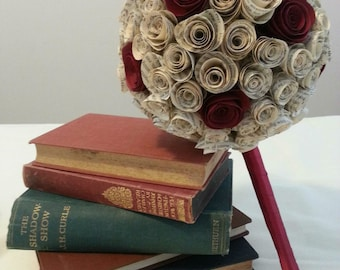 Book page & Coloured Rose Paper Flower Bouquet