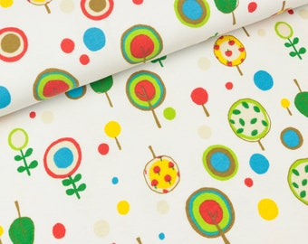 Cotton jersey trees and dots colorful on white (12.90 EUR/meter)