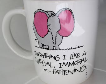 Understatements Russ Berrie Mug,Russ Berrie Style No 8309 Elephant Mug, Elephant Mug,Everything I like Mug