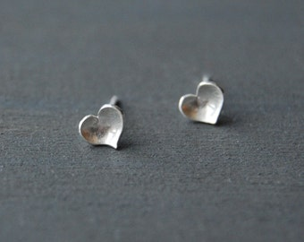 Heart Studs, Tiny Heart Studs, Silver Hearts, Tiny Studs, Valentine's Day, Gift, Love, Silver Studs, Simple Heart Studs