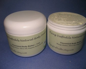 All-Natural Body Butter - Shea/Nut Oil FREE, Unscented, 4oz