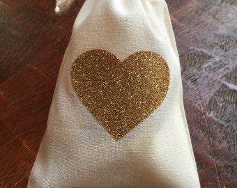 Gold glitter heart cotton muslin drawstring favor bags | wedding, bridal shower, baby shower, birthday loot bag