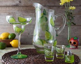 Hand Painted Lime Margarita Glass