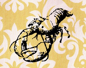 Lobster Stamp: Wood Mounted Rubber Stamp