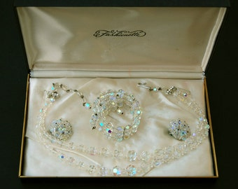 Vintage Clear Crystal Aurora Borealis Demi Parure with Two Strand Necklace, Bracelet and Clip On Earrings