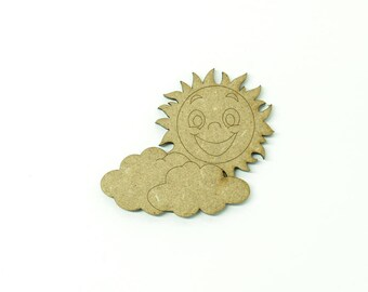 Sun and clouds in medium, size 5cm