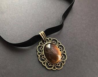 Gift-For-Her Gothic Jewelry Gift-for-sister Tiger Eye Necklace Cameo Velvet Choker Lolita jewelry Gift idea Halloween Necklace Black Jewelry
