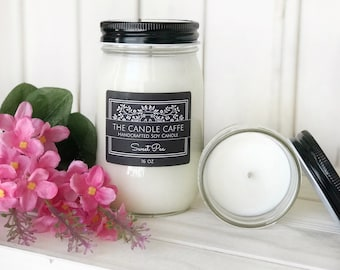 Sweet Pea Scented Soy Candle   Scented Soy Candle   16 oz.   8 oz.   Mason Jar   Gift Ideas   The Candle Caffe