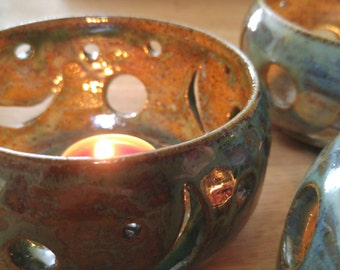 Hand Carved Pottery Luminary (green)