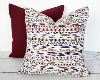 Nordic Pillows, Aztec Pillow, Winter, Lodge Cushions, Cream Pillow Cover, Tribal, Navajo, Southwestern Pillow, White Red Blue Pillows, 18x18