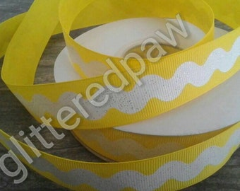 "7/8"" White Ric Rac on Daffodil Grosgrain Ribbon"