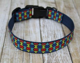 Autism Awareness Dog Collar - Autism Dog Leash - Autism Awareness Dog Harness - Puzzle Dog Collar - Personalized Dog Collar - Puzzle Leash