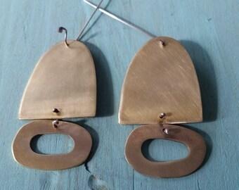 Beautiful big brass earrings with hoop