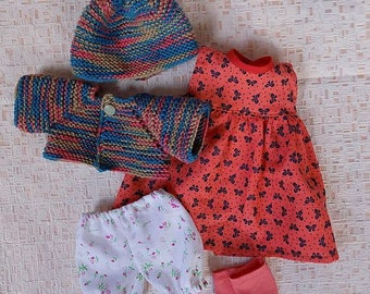 15 inch doll clothes - dress, crochet sweater and hat, waldorf doll dress, 15 inch doll sweater, dolls socks and underwear