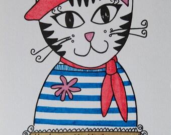 Parisienne Puss Gocco Print -- Limited Edition